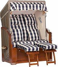 foolonli Strandkorb Luxus 2 Sitzer fachmänisch aufgebaut Blau kariert Mahagoni Holz XXL