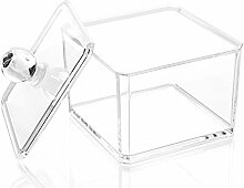 foopp quadratisch Acryl Wattestäbchen Stick Aufbewahrung Fall Baumwolle Ball Kosmetik Aufbewahrungsbox (transparent)