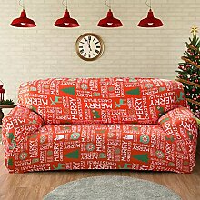 FORCHEER Christmas Sofabezug Elastischer Sofaüberwurf Blumen-Muster Sofa Cover Stretch Hussen für Sofa/Couch in Verschiedenen Größen( 2-Sitzer, 145-185cm, Weihnachten )