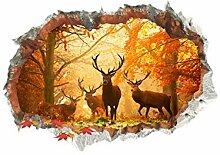 Forest Deer 3D-Effekt Wandloch Aufkleber Für