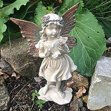 Forest Fairy mit Vogel kupfer geflügelten weiß Figur Skulptur Art Deco Girl Garden Home Decor Geschenk 19