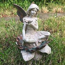 Forest Fairy SAT auf Blume kupfer geflügelten weiß Figur Skulptur Art Deco Girl Garden Home Decor Geschenk 26