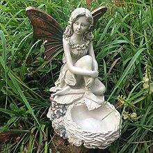 Forest Fairy sitzend mit Birds Nest Kupfer geflügelten weiß Figur Skulptur Art Deco Girl Garden Home Decor Geschenk 26