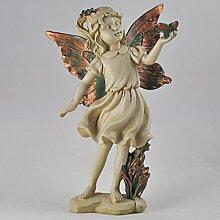 Forest Fee mit Schmetterling Kupfer geflügelten weiß Figur Skulptur Art Deco Girl Garden Home Decor Geschenk 19