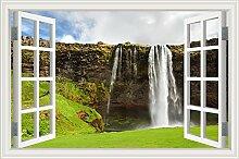 """Forest Pool Wasserfall 3D Wandtattoo Home Decor Natur Landschaft Wandsticker Vinyl Tapete, W0836, 32""""""""X48"""