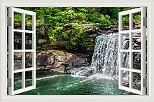 """Forest Pool Wasserfall 3D Wandtattoo Home Decor Natur Landschaft Wandsticker Vinyl Tapete, W0835, 28""""""""X40"""