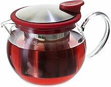 FORLIFE Bola Glas-Teekanne mit Sieb, 444 ml, Ro