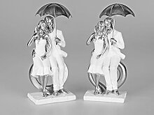Formano 'Paar mit Regenschirm', 25 cm, weiß-silber, sortier