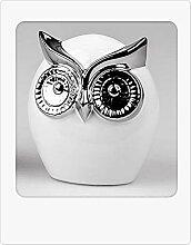 Formano Bollweg Deko Eule Weiss-Silber 11cm