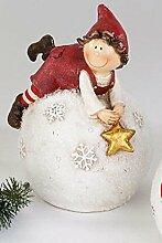 Formano Bollweg Tim auf Kugel Stern Schneeflocke rot wetterfest Kunststein 799197 Weihnachten Winter Dekoration Geschenkidee Garten Gartendeko
