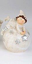 Formano Bollweg Tim auf Kugel Stern Schneeflocke silber wetterfest Kunststein 799197 Weihnachten Winter Dekoration Geschenkidee Garten Gartendeko