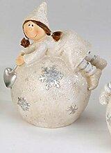 Formano Bollweg Tina auf Kugel Stern Schneeflocke Silber Wetterfest Kunststein 799197 Weihnachten Winter Dekoration Geschenkidee Garten Gartendeko