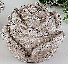 formano Deko Blume Gartenblume Zierblume antik rustikal Gartendeko steinfarben Klassik Garten, 13 cm