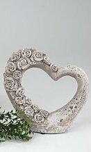 formano Deko Herz aus Keramik, 20 cm hoch, romantische Gartendeko