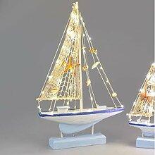 Formano Deko Segelboot mit LED-Licht, 50 cm, weiß-blau