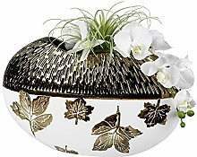 Formano Deko Vase Blatt-Antik Oval 40x26 cm, Creme