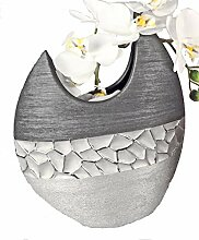 Formano Deko Vase Silber grau aus Keramik matt