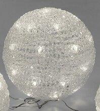 GILDE Dekokugel aus Vinyl weiß mit LED Beleuchtung 19,5x20 cm