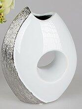 Formano Dekovase Edle Vase in weiß-Silber Keramik