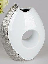formano Edle Vase in weiß-silber 19x25 cm