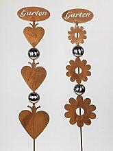 Formano Gartenstecker Rostdeko Set Herz und Blume
