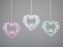 Formano Hänger Herz Teelichtleuchter Durchbruch Glasseinsatz rosa weiß blau Metall 565945 Dekoration Geschenkidee Frühjahr Sommer , Farbe:blau