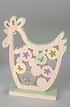 Formano Huhn auf Sockel Kreise Durchbruch mehrfarbig grün Holz 565556 Ostern Frühjahr Dekoration Geschenkidee B