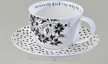 Formano Jumbotasse große Tasse Kaffeetasse Teetasse Marigold Charcoal Bone China von Lisa Stickley weiß schwarz Blume Geschenkidee Geschenk Frau Mutter Oma 964137