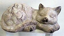 formano Katze, schlafend, Katzenfigur, steingrau, Kunststein, wetterfest, 33 cm, Gartendeko