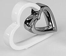 Formano Moderne Dekofigur Herz weiß Silber 21 cm.