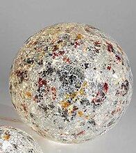 Formano Mosaikkugel 25cm silber bunt mit Licht