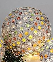 Formano Mosaikkugel Blume mit LED Licht 25cm Kugel Mosaik-Kugel Blumen orange gelb grün Lichterkette 577580 Lichterkugel