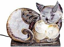 Formano Muschel-Lampe Katze Capiz Katzenlampe