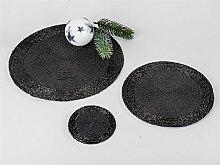 Formano Platzset rund 20 cm Perlen schwarz 509925