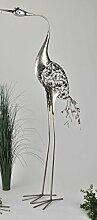 Formano Reiher B Glamour silber Metall edel Acryl 659361 Gartendeko