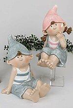 Formano Sommerkinder Junge Mädchen Gartenkinder Frühlingskinder Kind Garten-Kinder Sommerkind blau grau rosa Set 787446 Garten Deko Außenbereich Gartendeko