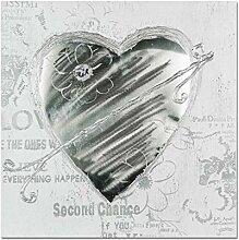 Formano Wandbild Herz Leinwand mit Aluminium Bild