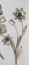 Formano Wanddeko Blumenzweig Silber Gold Metall