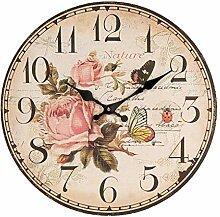 Formano Wanduhr Wand Uhr mit Rosen und