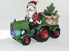Formano Weihnachtsmann mit Traktor und LED-Scheinwerfer, 42 cm, rot-grün