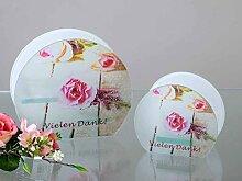 Formano Windlicht Teelichtleuchter 'Vielen Dank' 2flammig 1flammig rosa Glas 829702 829689 Rosendekor Kleines Dankeschön Geschenkidee, Größe:16 cm