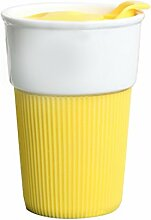 Formemory Einzigartiges Neuheit hitzebeständige Kaffeetasse, Kaffeepott , Isolierung Kaffeetasse , Latte Tassen , Keramiktasse , Teetasse - lustig - Arbeit - Büro - Geschenk, 300 ml . (Gelb)