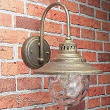 Formschöne Wandleuchte in Antik gold E27 bis 60 Watt 230V Wandlampe aus Metall & Glas für Garten / Terrasse Garten Weg Terrasse Lampen Leuchte Beleuchtung außen