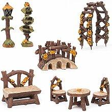 Fortag Miniatur Woodland Outdoor Fairy Garten Kollektion Möbel mit 2x Hocker / Stuhl / Tisch / hölzerne Tür Arch / Straßenschilder / Straßenlaternen / Brücke Set von 8 Stück Hand-painted Ki