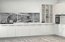FORWALL Fototapete Küche Vlies Tapete 3D Grau
