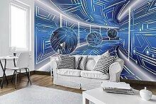 FORWALL Fototapete Tapete Blau Korridor mit Kugeln
