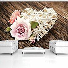 FORWALL Fototapete Tapete Herz und Rosen auf