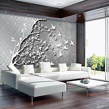 FORWALL Fototapete Tapete Silber Baum mit Vögeln