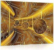 FORWALL Glasbild Glasfoto Echtglas Wandbild Gelb