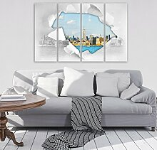 FORWALL Glasbild Glasfoto Echtglas Wandbild Stadt